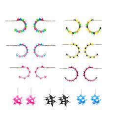 Spikeez Spiky Studs and Hoop Earrings - 9 Pcs Set