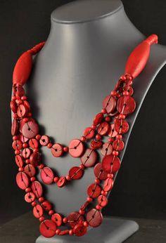 Multi-strand button necklace.