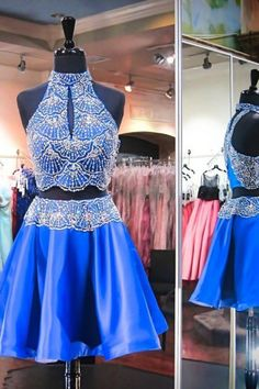Two Piece High Neck Keyhole Open Back Short Royal Blue Satin Beaded Homecoming Dress