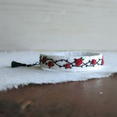 Rose and Thorns Textile Art Cuff Bracelet  Red Roses and