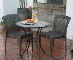 Belham Living Brisbane All Weather Wicker and Mosaic Patio Bistro Set - Outdoor Bistro Sets at Hayneedle Wood Patio, Patio Dining, Ikea Patio, Curved Patio, Patio Table, Dining Room, Dining Table, Rome, Patio Furniture Sets