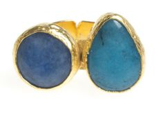 24K Yellow Gold Plated Chalcedony Blue Tonal Natural Two Stone Adjustable Ring Modern Curated Collection,http://www.amazon.com/dp/B00JHM2Y7O/ref=cm_sw_r_pi_dp_SnxEtb1Q2GS2FY98 #Handmade #Jewelry #Vintage #Antique #Design #Gemstone #Natural #Stone #Adjustable #Ring #ChicBahar