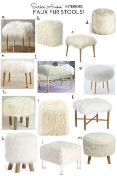 23 Clever DIY Christmas Decoration Ideas By Crafty Panda Diy Furniture, Furniture Design, Faux Fur Stool, Diy Stool, Cozy House, Room Decor Bedroom, Interior Design Living Room, Decoration, Home Decor
