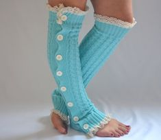 Leg warmers mint green cable knit slouchy open button by bstyle, $34.00