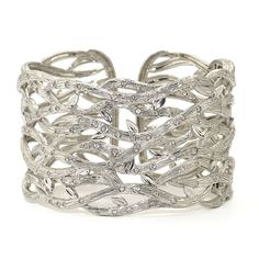 Katie Decker: Rhodium plated sterling silver Branch cuff with 1.5 cts white sapphires.