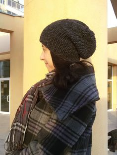 Minimalist Style, Winter Fashion, Charcoal Chunky Knit Beanie Hand Knit Hipster by DragonflyStrand, $29