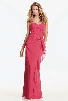 Jordan Strapless Chiffon Draped Long Bridesmaid Dress 360 image $133.99