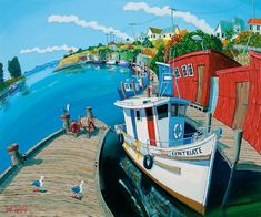 """Timo Rännäli is a NZ based artist who paints in a very distinctive """"fish-eye lens"""" style, and we have a couple of examples of his transport . Pablo Picasso, Artsy Fartsy, New Zealand, Folk Art, Boat, History, World, Painted Walls, Artist"""