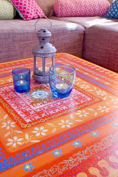 inspiration for tabletop of coffee table? digging the vivid tones