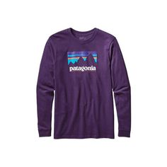Men's Patagonia Long-Sleeved Shop Sticker Cotton T-Shirt - Panther... ($45) ❤ liked on Polyvore featuring men's fashion, men's clothing, men's shirts, men's t-shirts, mens long sleeve cotton t shirts, mens purple shirt, mens longsleeve shirts, mens long sleeve graphic t shirts and mens long sleeve cotton shirts