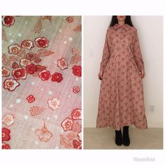 4c1ebad10 Vintage 70s boho festival dress women L 8/long sleeve hippie maxi  dress/gauzy cotton floral printed rose blush prairie high collar prairie