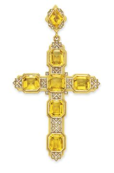 AN ANTIQUE CITRINE AND DIAMOND CROSS PENDANT, BY MELLERIO  Designed as a cross, set with six rectangular-cut citrines, enhanced by rose-cut diamond detail, to the lozenge-shaped surmount of similar design, with concealed compartment on the reverse, mounted in 18k gold, circa 1900