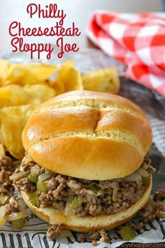 Philly Cheesesteak Sloppy Joes - fun twist on the original! So easy to make. Philly Cheesesteak Sloppy Joes - fun twist on the original! So easy to make. Steaks, Philly Cheese Steak Sandwich, Steak Sandwiches, Steak Sandwich Recipes, Cheese Burger, Cooking Recipes, Healthy Recipes, Chicken Recipes, Recipes