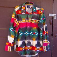 Vintage Wrangler Flannel Western Tribal Pearl Snap Shirt L/XL. $45.00, via Etsy.