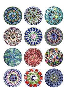 Star Fish MILLEFIORI PAPER WEIGHT Craft Circles - Vintage Murano Glass - Instant Download Digital Printable -