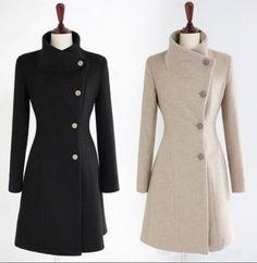 722d7c212c873 Kaban modelleri · Womens Slim Fit Warmwool Blend Trench Coats Parka  Overcoats Mid-Calf Outwear G Moda Kadın