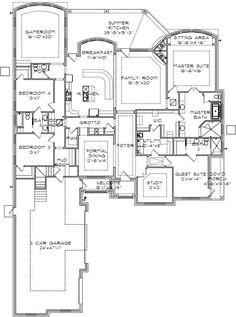 4 5 bedroom one story house plan with exercise room for House plans with laundry room attached to master bedroom