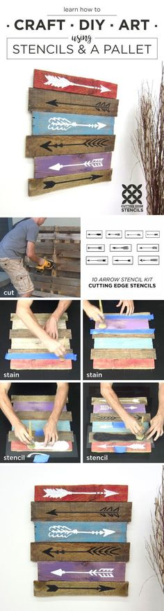 Cutting Edge Stencils shares a DIY stencil tutorial on how to create art out of a wooden pallet and the 10 piece Arrow Stencil Kit. http://www.cuttingedgestencils.com/arrow-stencil-kit-diy-home-decor.html