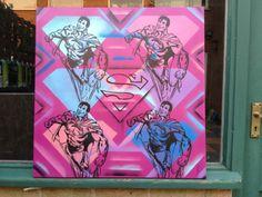 title- superman popsize- 28 by 28 inch canvasmedium- stencils