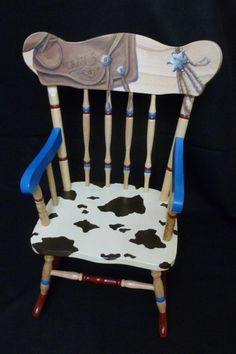 Childs hand painted western rocking chair