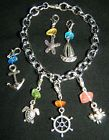 Multi Color Glass Silver Clip On Charm Bracelet NEW 7 pc Ocean Nautical