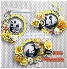 scrapbook layout - I like the circle cut photos surrounded by yellow border and flower embellishment