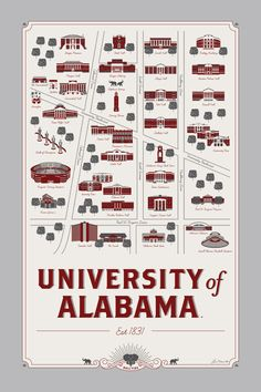 University of Alabama map 12 x 18