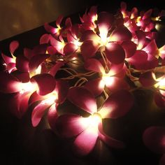 35 Flowers Purple Frangipani Fairy Lights String 3.5M Home Accent Floral Party Patio Wedding Floor Table or Hanging Gift Home Decoration. $13.97, via Etsy.