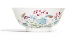 A pair of famille-rose 'Floral' bowls, Yongzheng marks and period