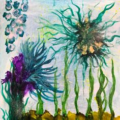 """In Deep   12""""x12""""X1.5"""" alcohol ink & resin on wood panel  $75"""