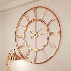 Handmade Large Copper Color Metal Wall Clock Home Decor Hanging Wall Sculpture