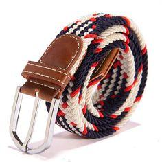 31 Colors Men Women's Canvas Plain Webbing Metal Buckle Woven Stretch Waist Belt
