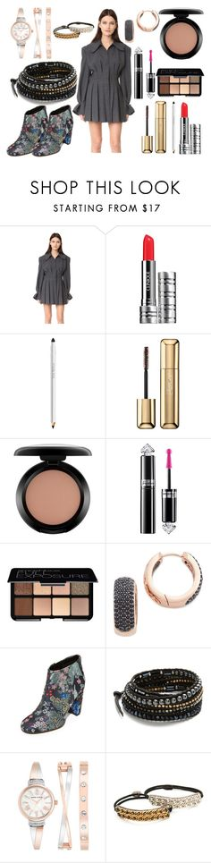 """""""Grey day"""" by hillarymaguire ❤ liked on Polyvore featuring Jacquemus, Clinique, Trish McEvoy, Guerlain, MAC Cosmetics, Smashbox, Bronzallure, Sam Edelman, Chan Luu and Anne Klein"""