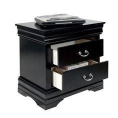 Furniture of America Laurelle Solid Wood 2-Drawer Black Nightstand