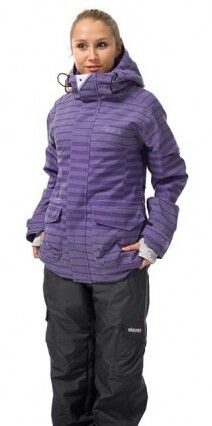 Ajmita is wearing a purple with violet horizontal stripes on her ski jacket.