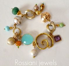 Fashion bracelet - Rossiani jewels handmade jewels - made in Italy jewels silver, copper, aluminium, brass and pearls, crystals and precious stones