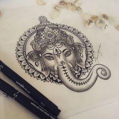 Geisha Tattoos, Hindu Tattoos, Buddha Tattoos, Ganesha Tattoo Mandala, Ganesha Drawing, Ganesha Tattoo Sleeve, Hamsa Hand Tattoo, Ganesha Art, Lord Ganesha