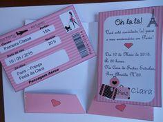 Convite passaporte Paris, medida da capa 10 x 15 cm fechada, medida de cada cartão interno 9 x 14 cm. Feito em papel fotográfico glossy, 180 gr, alto brilho. Fazemos em qualquer tema. Lindíssimo! Um encanto! Pedido mínimo: 30 unidades.