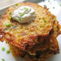 Potato pancakes, also known as latkas, are shallow-fried pancakes of grated potato and egg, often flavored with grated onion. Potato Pancakes are a common in Jewish, Czech, Ukrainian, Yiddish, German and Polish cuisines and are often eaten with sour cream, applesauce, or both.