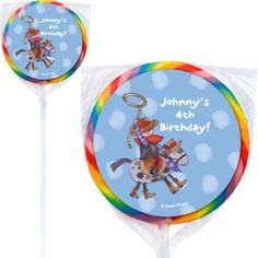 Check out Little Cowboy Personalized Lollipops - Little Cowboy Custom Swirl Pops from Birthday In A Box