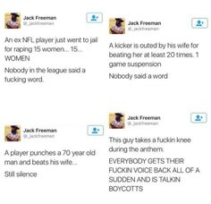 """Because """"you can't mix politics with sports"""". Okay, well, half the players that you """"look up to"""" are violent, misogynistic pieces of shit anyway, have fun ¯_(ツ)_/¯"""