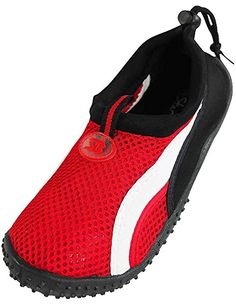 Starbay - Womens Athletic Water Shoes Aqua Sock, Red, White 37912-11B(M)US