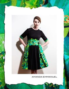 Amanda Emmanuel - Autumn/Winter 2012    EMERALD - Full-Skirted Cotton Dress    http://www.amandaemmanuel.com/collections/shop/products/emerald    Exclusively available at Ursula B www.ursulab.com