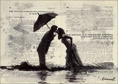 Canvas poster print art gift Ink Drawing Sketch Mixed Media Painting Illustration Love Couple kiss Umbrella Autographed Emanuel M. Ologeanu
