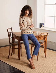Eldon Sweater - Chinchilla, Linear Spot Small Fall Outfits, Fashion Outfits, Boden Uk, Cotton Jumper, Pullover, Chinchilla, Lounge Wear, Style Me, Knitwear
