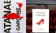 TIER タイヤー 「勝手にシリーズ」 左/「ご祝儀袋/COMME des GARÇONS」 ギャルソン好きな恩師へ還暦祝いとして贈ったご祝儀袋。右/「カード/Christian Louboutin」 ルブタンのこっくりした赤のハイヒールを水引で。ショップカードをイメージ