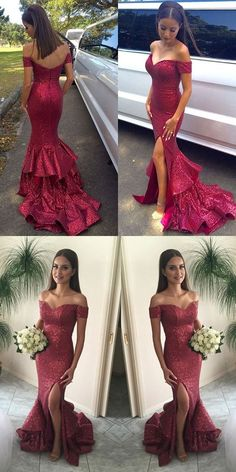 Sexy Off the shoulder Mermaid Long Sequins Prom Dress with Side slit,209