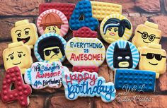 Lego Movie Custom Cookies www.ylcustomcookies.com #ylcustomcookies #customcookies #cookieart #decoratedcookies #birthdaycookies #birthday #legomovie Lego 4, Lego Birthday, Everything Is Awesome, Birthday Cookies, Custom Cookies, Lego Movie, Sugar Cookies, Baking, Food