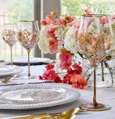 pink bougainvillea, white hydrangea and gold goblets Tips for Collecting Featuring Jay Strongwater - Decor Gold Designs