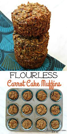 Flourless Carrot Cake Muffins - a healthy breakfast or snack recipe, sweetened…
